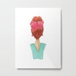 lady in a bow, redhead Metal Print