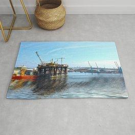 Oil Rig Seascape Rug