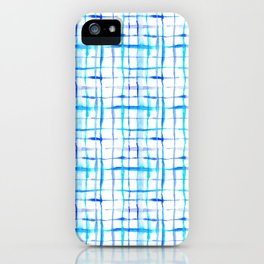 Watercolor Abstract Plaid TieDye in Indigo Ink iPhone Case
