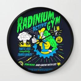 Radinium Gym - Fitness - Gym - Funny - Illustration - Nuclear Wall Clock