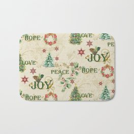 Christmas Love Joy Peace Collage Trees n Wreath Bath Mat