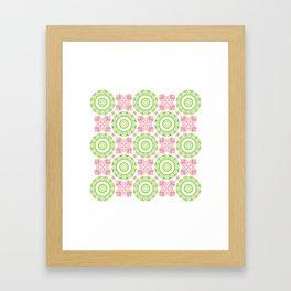 Floral Pattern - Lime Green & Pink Framed Art Print
