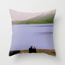 Conversation on the log - oil color painting Throw Pillow