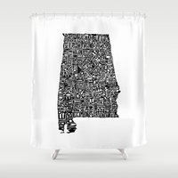 alabama Shower Curtains featuring Typographic Alabama by CAPow!