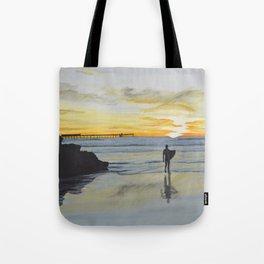 Dog Beach Surfer Tote Bag