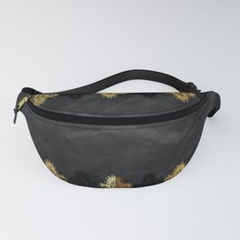 Simply elegance - Gold and black ornamental lace on black paper Fanny Pack