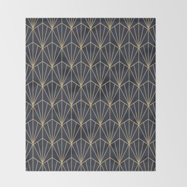 Art Deco Vector in Blue and Gold Throw Blanket