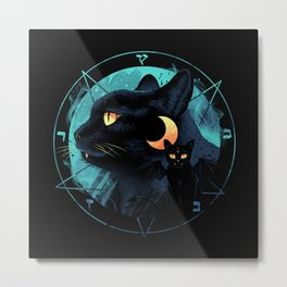 Puss the Evil Cat Metal Print