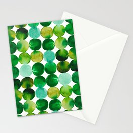 Green Watercolor Circles Pattern Stationery Cards