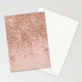Girly blush coral faux rose gold glitter marble Stationery Cards