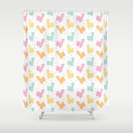 Pastel Kawaii Llamas Shower Curtain