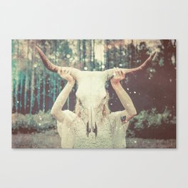 Bull Skull Tribal Woman Canvas Print