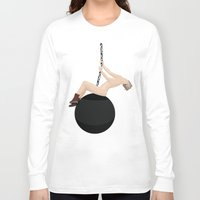 miley cyrus Long Sleeve T-shirts featuring Miley Cyrus - Wrecking Ball by The Vector Studio