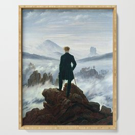 Wanderer above the Sea of Fog Painting by Caspar David Friedrich Serving Tray