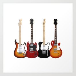 Four Electric Guitars Art Print