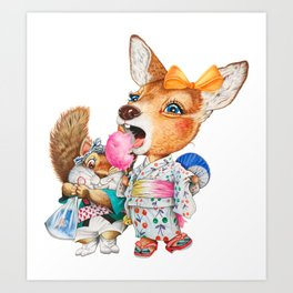 A child deer and squirrel at the summer festival Art Print