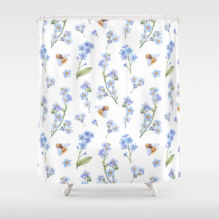 Cute hand painted brown bee lavender watercolor floral Shower ...