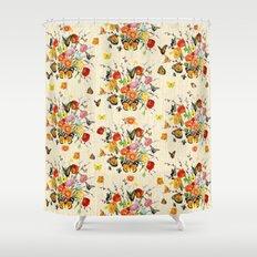 Butterfly Bouquet on Raw Silk Shower Curtain