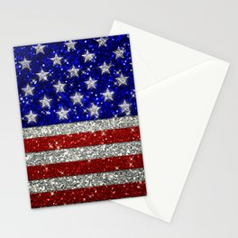 Glitter Sparkle American Flag Pattern Stationery Cards
