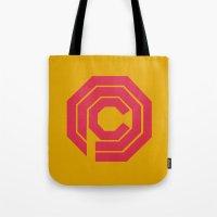 robocop Tote Bags featuring Robocop by FilmsQuiz