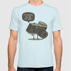 Never in the picture... Mens Fitted Tee Light Blue LARGE
