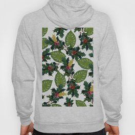 Christmas faux gold red green holly leaves floral Hoody
