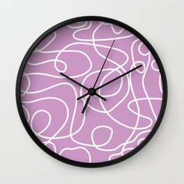 Doodle Line Art | White Lines on Lavender Wall Clock