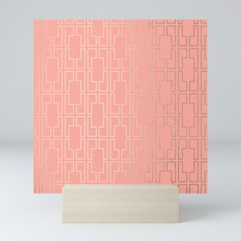 Simply Mid-Century in White Gold Sands on Salmon Pink Mini Art Print