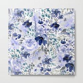 Floral Chaos - Blue Metal Print