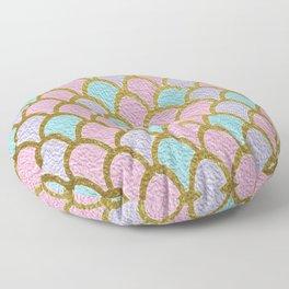 Mermaid Scales Golden Pastel Floor Pillow