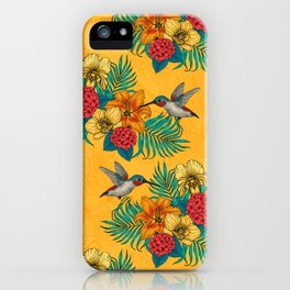 Hummingbirds and tropical bouquet in yellow iPhone Case