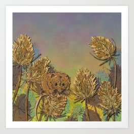 Harvest Mouse and Teasels Art Print