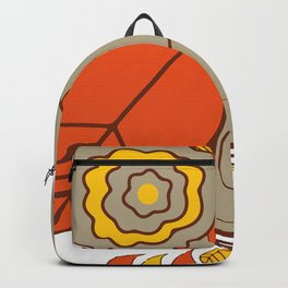 Abstract Colorful Floral Owl, Cute Owl Sticker, Terracotta Colors, Orange Yellow Gray And  Brown Backpack