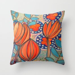 Orange Stylized Flowers Throw Pillow