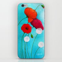 poppies iPhone & iPod Skins featuring Poppies by Sybile Art