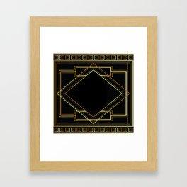 art deco gatsby black and gold lines geometric pattern Framed Art Print