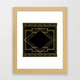 art deco gatsby black and gold lines geometric pattern Framed Art Print