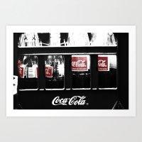 coca cola Art Prints featuring coca cola by Crimson Crazed