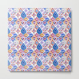 mosaic balinese ikat print mini Metal Print