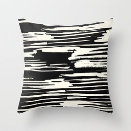 Modern Tribal Stripe Ivory and Black Throw Pillow