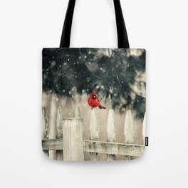 Snowy Day Cardinal Tote Bag