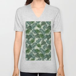 Tropical ivory green monster leaves floral Unisex V-Neck