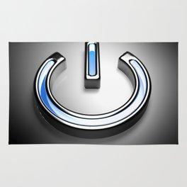 Start symbol for technology with blue light - 3D rendering Rug