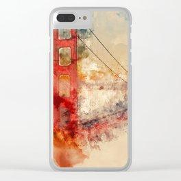 Golden Gate Bridge - Watercolor Clear iPhone Case