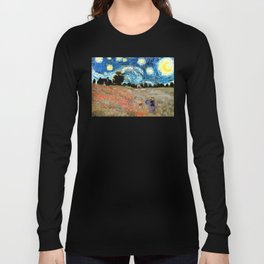 Monet's Poppies with Van Gogh's Starry Night Sky Long Sleeve T-shirt