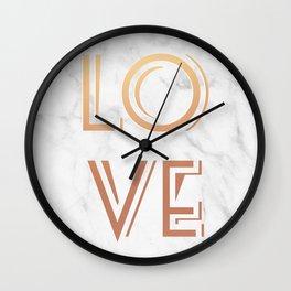 Art Deco Love Rose Gold Marble Tyrpography Print Wall Clock