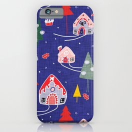 gingerbread house blue #Christmas #Holiday iPhone Case