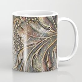 Golden Brown Carved Tooled Leather Coffee Mug