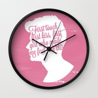zayn malik Wall Clocks featuring Zayn Malik Silhouette  by Holly Ent