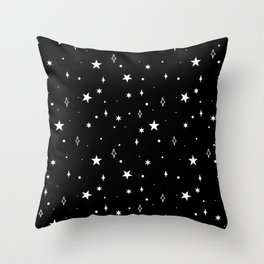 Stars in Space Pattern (white/black) Throw Pillow